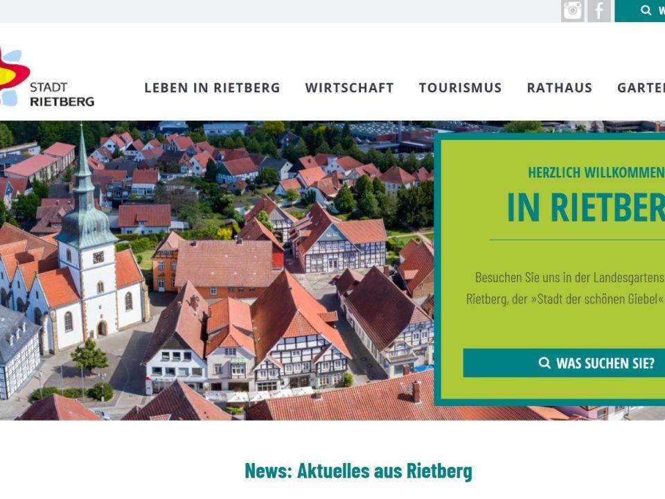 Internetseite der Stadt Rietberg